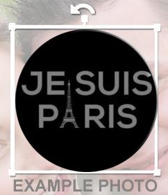 Chapa para poner en tu foto de perfil con el texto JE SUIS PARIS y la torre eiffel para apoyar a los parisinos y franceses