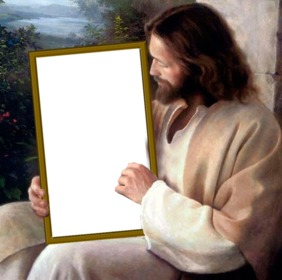 Pon tu foto en un cuadro que sujeta Jesucristo