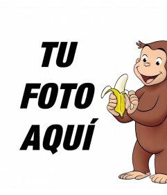 Marco para foto con el personaje Jorge el Curioso merendando una banana