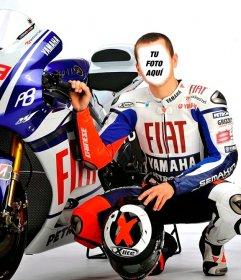 Fotomontaje de Jorge Lorenzo, famoso piloto español de Moto GP
