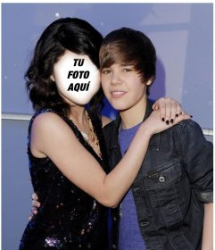 Fotomontaje de Justin Bieber con una chica para ponerle tu cara