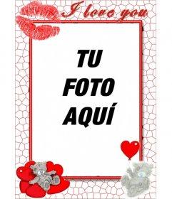 Marco online de amor con corazones un beso y te quiero