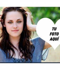Fotomontaje con un corazón al lado de Kristen Stewart