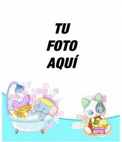 Marco para fotos infantil de dibujo de animales bañándose