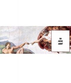 Foto de portada personalizable con el cuadro La creación de Adán