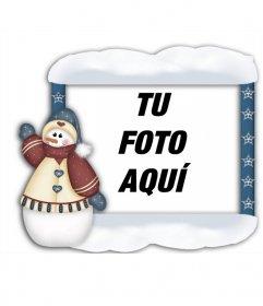 Marco para tus fotos con muñeco de navidad que podrás hacer online y poner tu foto
