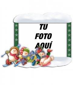 Marco para fotos de navidad con adornos de niños patinando
