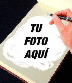 Fotomontaje de una libreta de dibujo para transformar tus fotos en obras de arte