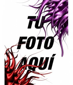 Marco para fotos con forma de hilos de pintura rojos y lilas. Para poner tu foto online