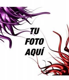 Marco para fotos con hilos de pintura rojos y lilas, semejantes a tentáculos