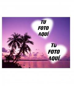 Tarjeta en la que podrás poner dos fotos con forma de corazón con un idílico paisaje de mar y palmera en tonos lilas
