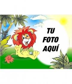 Marco para fotos dibujado de león sonriendo en la jungla