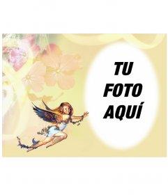 Marco para fotos: pequeño angelito en marco para fotos redondeado
