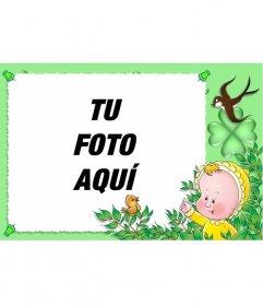Marco de fotos para niños con pájaros y bebé que puedes hacer con una de tus fotos