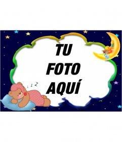 Marco para fotos para poner una foto de osito bebe durmiendo con luna