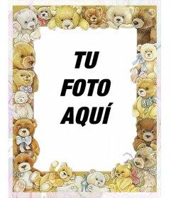 Marco para fotos con dibujos de bebes ositos rodeando tu imagen