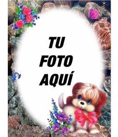 Marco para fotos redondeado con adorno de perrito con un lazo y rosas