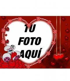 Ratoncito enamorado, postal para San Valentín personalizable con tu foto con el borde con forma de corazón