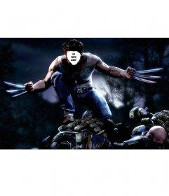 Fotomontaje de Wolverine atacando donde puedes añadir tu cara