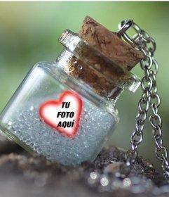 Efecto para poner tu foto dentro de una botella en un marco con forma de corazón