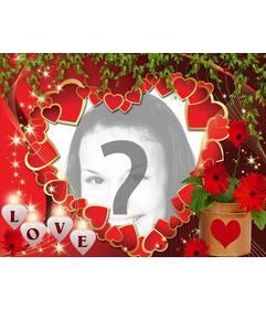 Postal de amor con muchos corazones y el texto LOVE