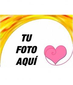 Marco para fotos con un corazón. Felicita este San Valentín con un montaje fotográfico online gratuito, que puedes guardar o enviar por correo electrónico