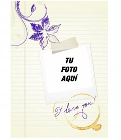 Marco de fotos para poner la foto de ti o de tu enamorado tipo polaroid sobre hoja con dibujos