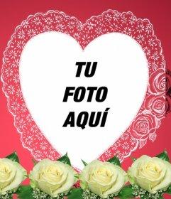 Montaje fotográfico consistente en un marco romántico color rosa en que tu foto aparece en un marco en forma de corazón