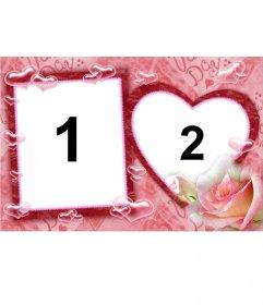 Marco para dos fotografías, una cuadrada y otra en forma de corazón, fondo rosa y burbujas de corazones. Ideal para el día de los enamorados