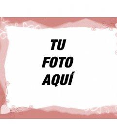 Plantilla de marco para fotos, color rosa, con corazones