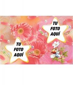 Marco para dos fotos con forma de estrellas y flores color pastel