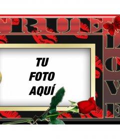 Regala a tu pareja una fotografía dentro de este marco rojo con corazones y una rosa roja
