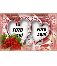 Marco fotográfico muy elaborado con rosas y corazones