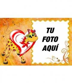 Marco de fotos de jirafa enamorada dentro de un corazón. Pon tu foto dentro del marco
