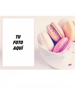 Marco para fotos con una imagen de unos macarons