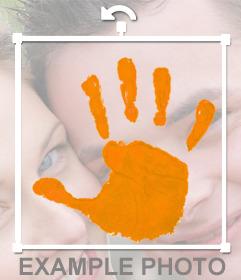 Sticker de mano naranja en contra la violencia hacia la mujer