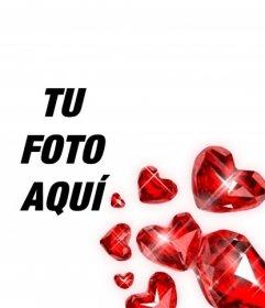 Diamantes en forma de corazón rojos con destellos de luz para decorar tus fotografías románticas