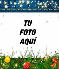 Marco azul para decorar fotos de Navidad