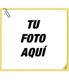 Nota con un clip con post-it con tu foto