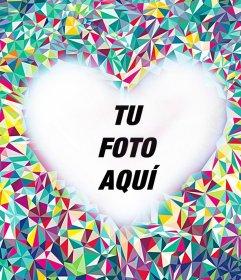 Fotomontaje editable de un mosaico colorido con un corazón