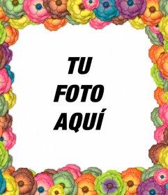 Marco de flores multicolor para fotos