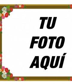 Borde para fotos con flores decorativas que puedes editarlo online