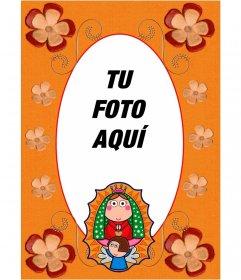 Marco para fotos religioso con un dibujo de la Virgen María