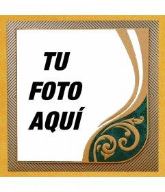 Marco para tus fotos con colores amarillos, dorados y verdes y motivos a rayas