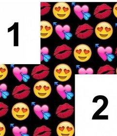 Marco con collage de emojis de amor para dos fotos