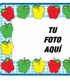 Foto marco online con manzanas de colores para decorar gratis tus imágenes