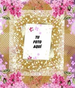 Marco con muchas flores para decorar tus fotos online