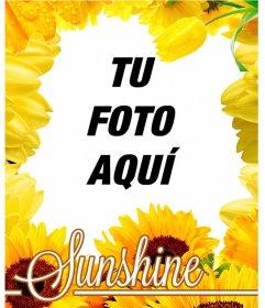 Marco para tus fotos hecho de flores amarillas, como tulipanes y girasoles
