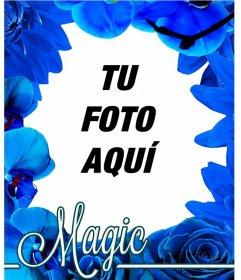 Marco hecho a base de flores azules, como orquídeas y rosas para que pongas tus fotos