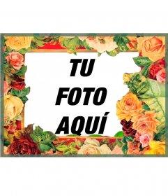 Precioso marco de fotos con flores de todo tipo con muchos colores, con aire clásico